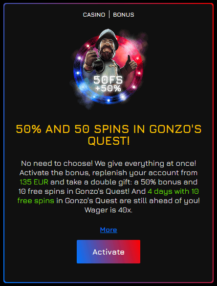 fortune clock casino 50 free spins gonzo's quest
