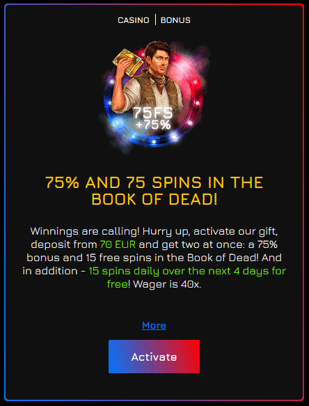 fortune clock casino 75 free spins book of dead